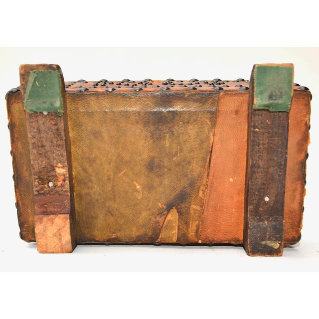 Old West Brass Studded Embellished Leather-Clad Small Box For Sale In Los Angeles - Image 6 of 7