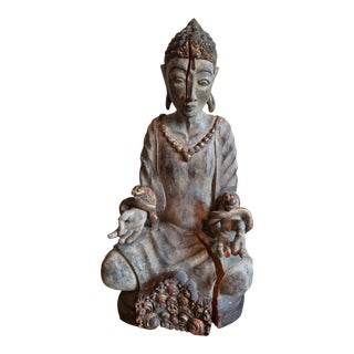 18th Century Antique Large Carved Wood Seated Buddha Sculpture For Sale