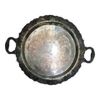 Round Silver Plate Tray For Sale