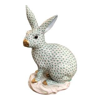 Herend Rabbit Large Green Fishnet For Sale