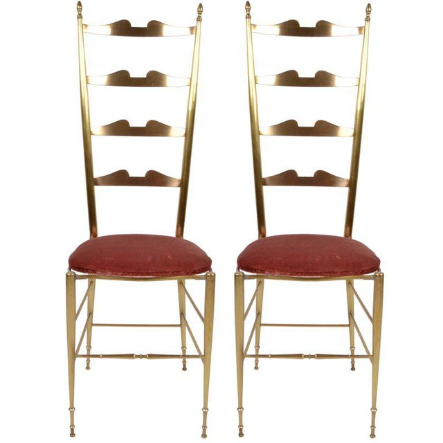 Italian Chiavari Bronze High Back Chairs, a Pair For Sale - Image 12 of 12