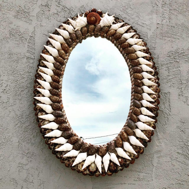 Empire Oval Empire-Style Shell Mirror For Sale - Image 3 of 3