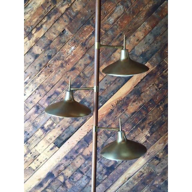 Mid-Century Brass & Wood Tension Pole Lamp - Image 3 of 11