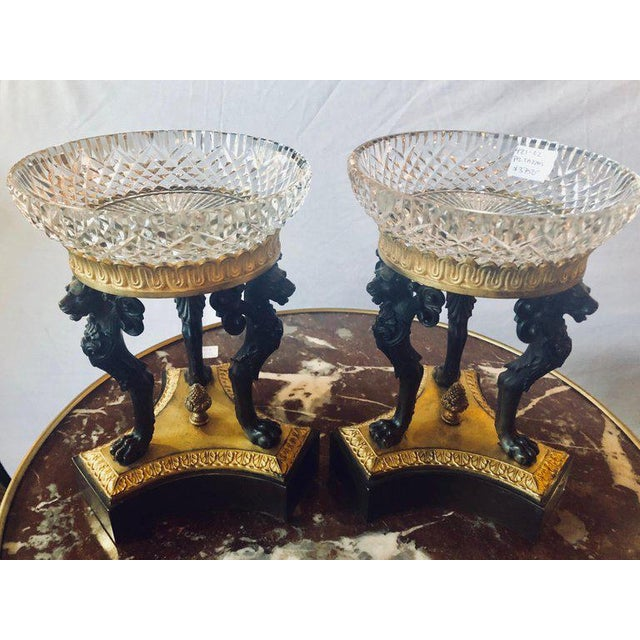 Pair 19th century Empire Figural Tazzas / Compotes doré and patinated with Cavan signed crystal bowls. This simply...