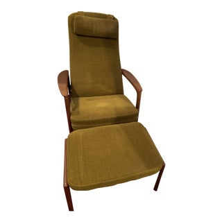 Vintage Mid-Century Norsk Sweden Olive Green Chair & Ottoman For Sale