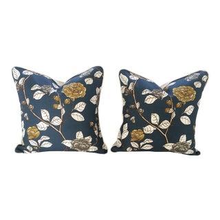 Robert Allen Leda Peony Print Custom Pillows - A Pair