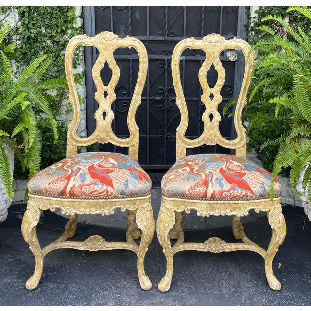 Pair of Antique Venetian Side Chairs W Scalamandre Silk Lampas For Sale In Los Angeles - Image 6 of 6