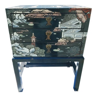 Chinese Black Gold Lacquer Scenery Graphic Side Table For Sale