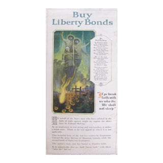 1918 Original Wwi Poster, We Shall Not Sleep, Liberty Bonds Advertisement, Flanders Fields Poem