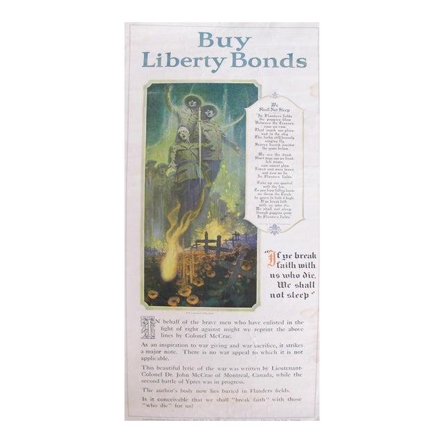 1918 Original Wwi Poster, We Shall Not Sleep, Liberty Bonds Advertisement, Flanders Fields Poem For Sale