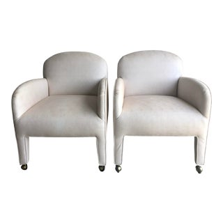 1980s Deco Style Upholstered Dining Lounge Chairs - a Pair For Sale