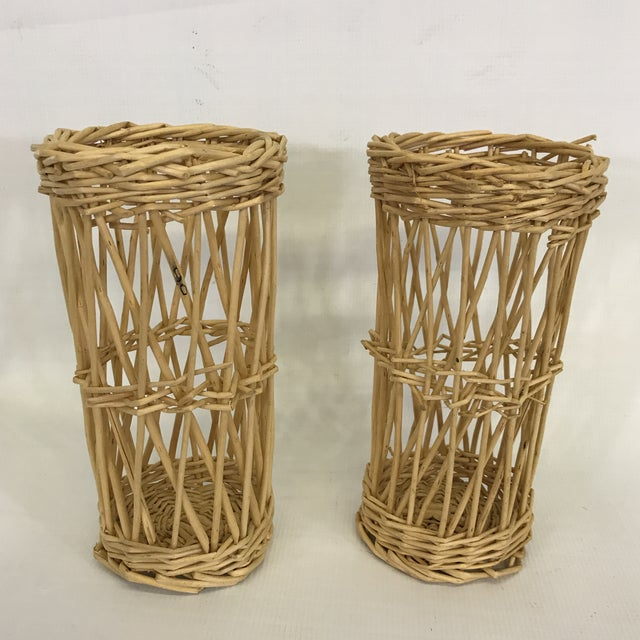 Pair of vintage woven wicker baskets or cachepots. Could be used as wine bottle holder or vase holder.