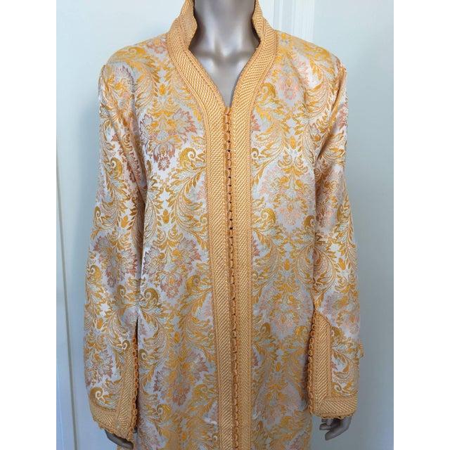 Islamic 1970s Moroccan Brocade Bohemian Handmade Vintage Kaftan For Sale - Image 3 of 10