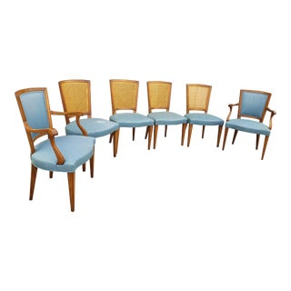 Vintage 1970's Baker Furniture Walnut & Cane Dining Chairs-Set of 6 For Sale
