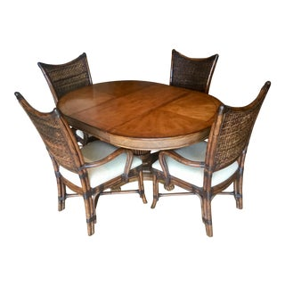 Hollywood Regency Tommy Bahama Island Estate Cayman Extendable Dining Set For Sale