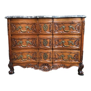 Antique French Carved Tiger Oak Chest of Drawers Marble Top Table Louis XV For Sale