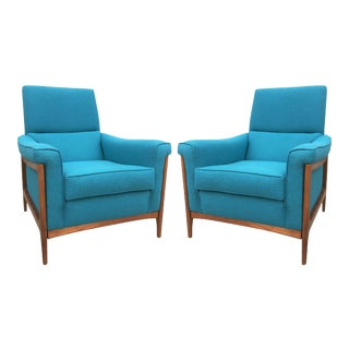 Midcentury Kroehler Upholstered Lounge Chairs - A Pair For Sale