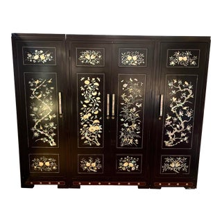 Asian Black Lacquer Mother of Pearl Armoire Wardrobe Closet For Sale