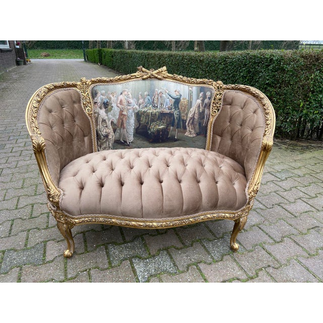 Tan French Louis XVI Style Corbeille Loveseat/Sofa/Marquise For Sale - Image 8 of 8