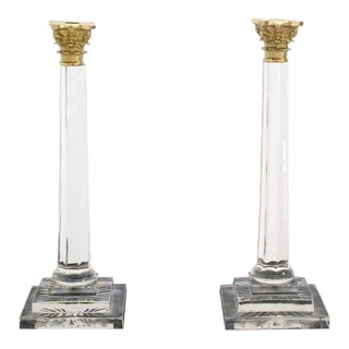 Pair of Tall Glass and Brass Candle Sticks For Sale
