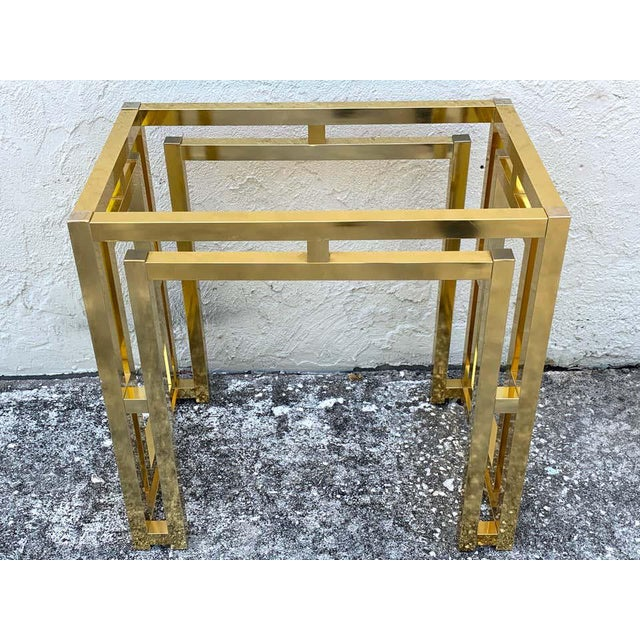 Milo Baughman Style Brass Table Base For Sale In West Palm - Image 6 of 12