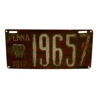 Vintage Pennsylvania Automobile License Plate, 1912 For Sale