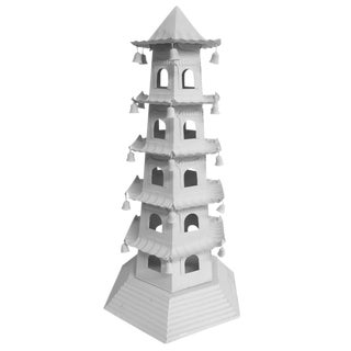1980s Chinese Brighton 5 Level Tole Pagoda With Bells For Sale