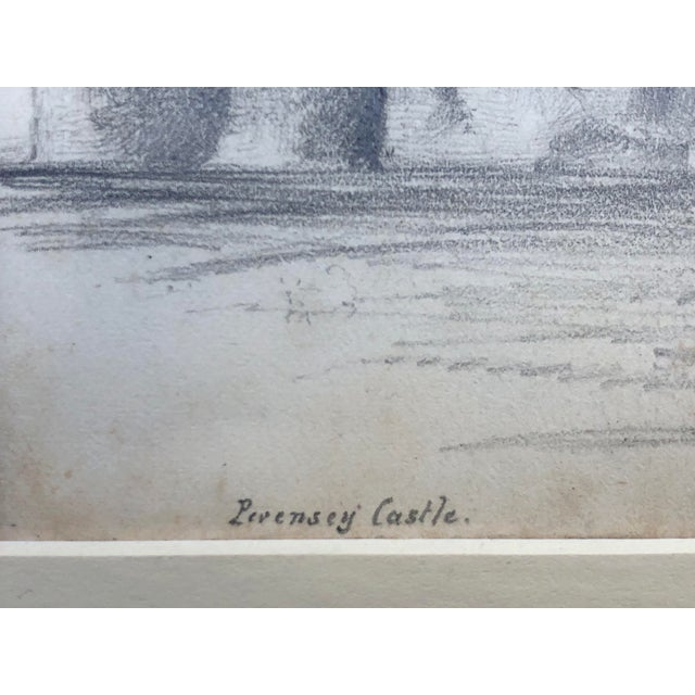 19th Century English Graphite Landscape Drawing of Pevensey Castle Ruins 1855 For Sale In New York - Image 6 of 8