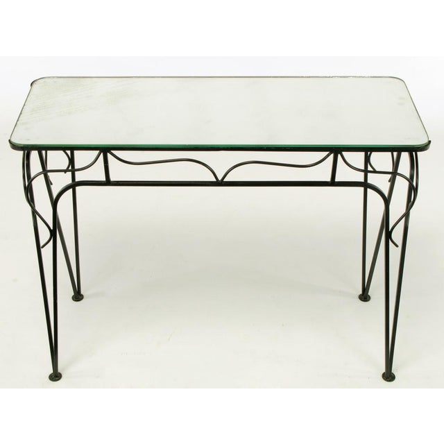 Salterini Attr. Black Wrought Iron & Mirror Top Petite Console For Sale - Image 4 of 10