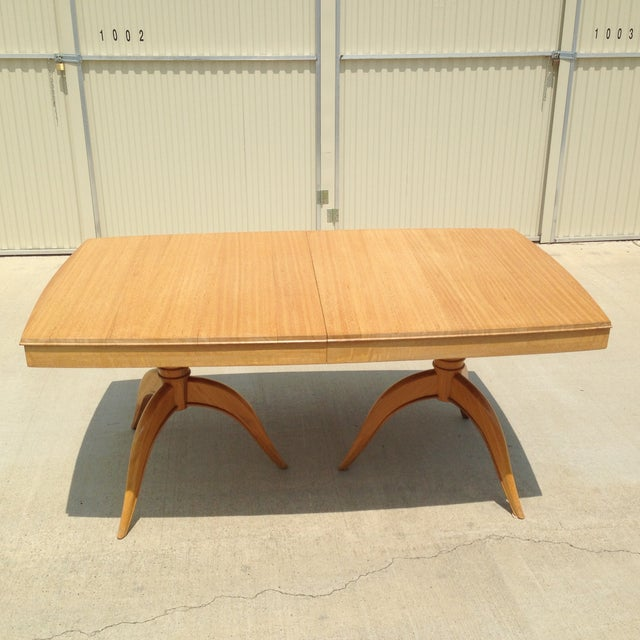 Mid-Century Modern blond wood & mahogany Gilbert Rohde dining table. Table slightly curved on all sides. Excellent...