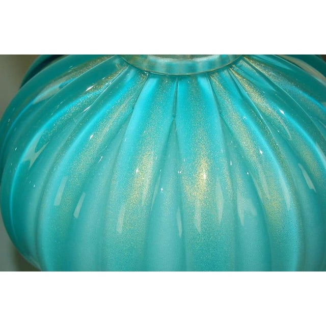 Murano Glass Three Footed Table Lamps Blue Gold For Sale - Image 9 of 10