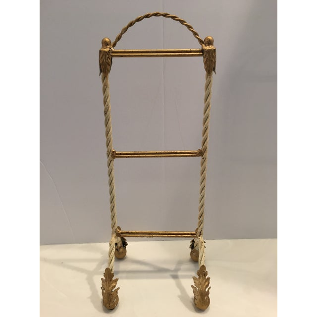 Gold Italian Painted Hand Towel Holder For Sale - Image 8 of 8
