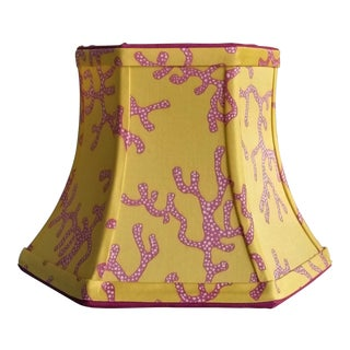 Lilly Pulitzer Fabric Lampshade Yellow Pink Coral Clip On For Sale