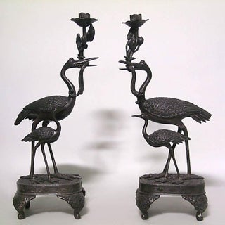 Asian Japanese Style Bronze Double Heron Candlesticks- a Pair Preview