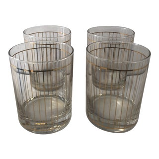 Culver Gold Pencil Striped Glasses - Set of 4 For Sale