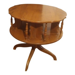 1960s Mid-Century Modern Ethan Allen Oversized Rotating Round Side Table