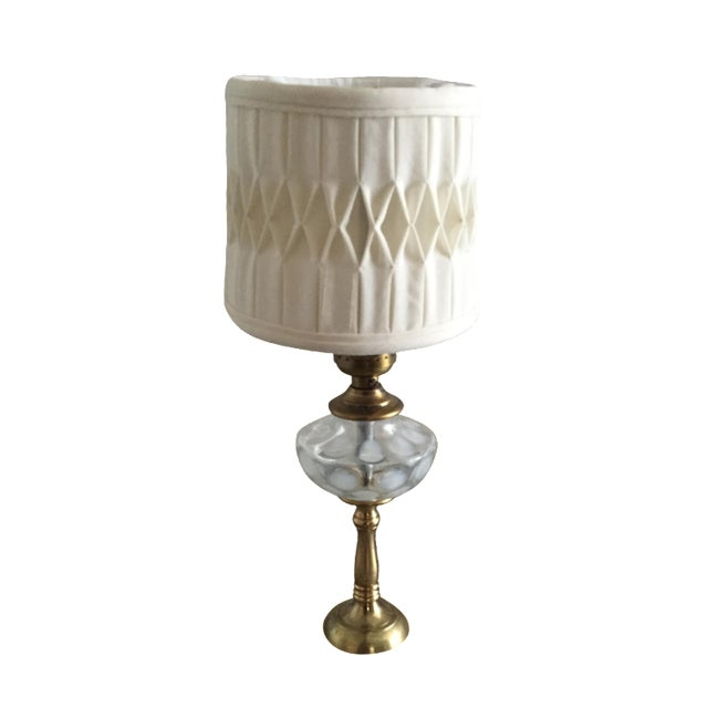 White Coin Spot Art Glass Table Lamp - Image 1 of 4