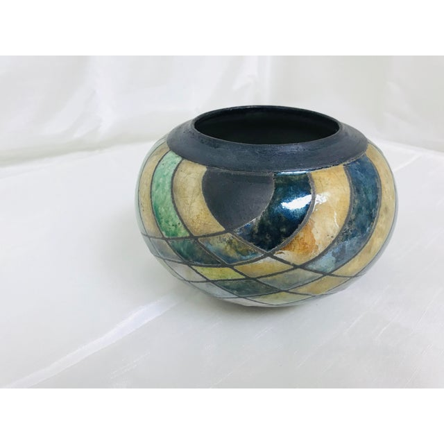 Blue Vintage Studio Luster & Matte Pottery Table Vase For Sale - Image 8 of 8