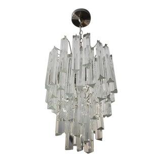 1970s Italian Triedri Crystal Prism Chandelier For Sale