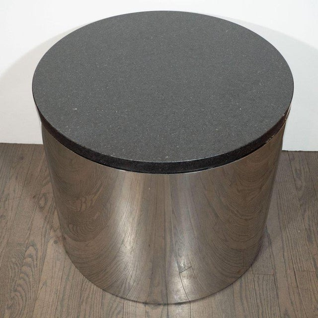 Mid-Century Modern Cylindrical Drum Form Chrome and Granite Occasional Table For Sale - Image 4 of 9