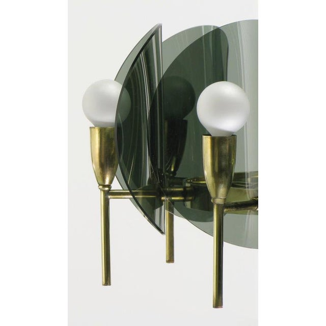 Acrylic Brass & Smoked Acrylic Eight Arm Chandelier For Sale - Image 7 of 7