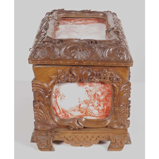 19th Century French Carved & Hand-Painted Pastoral Scenes Tile Jewelry Box - Image 4 of 9