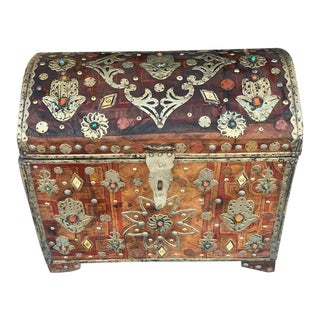 Antique Refurbished Moroccan Cedar Chest For Sale