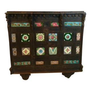 19t Century Asian Antique Tiled Front Dowery Chest For Sale