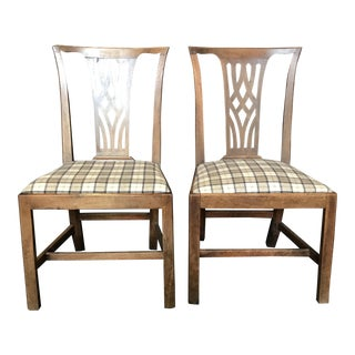 Early British Side Chairs Newly Reupholstered in Neutral British Tartan - a Pair For Sale