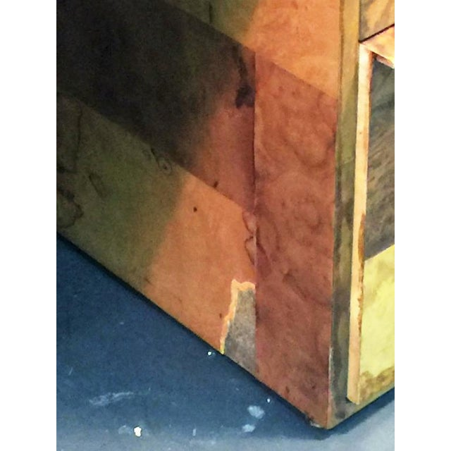 PAUL EVANS PATCHWORK BURLED WOOD AND LEATHER DESK - Image 7 of 10
