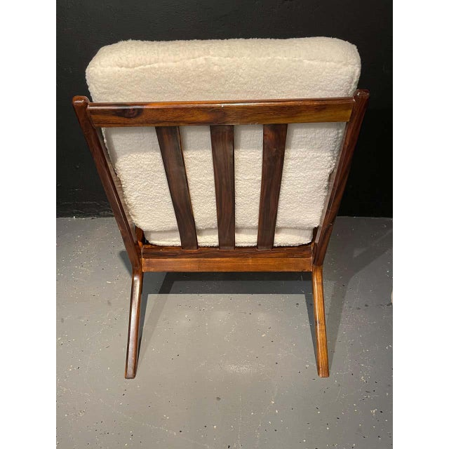 Wood Mid-Century Modern Rosewood or Walnut Armchairs Sherpa, Upholstered - a Pair For Sale - Image 7 of 10