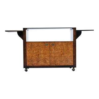 Century Furniture Campaign Style Brass Accent Burl Wood Server Dry Bar Cabinet For Sale