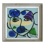"""Image of 1973 Peter Robert Keil Abstract Painting """"Blue Face"""" Paris For Sale"""