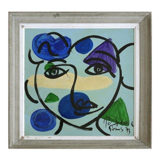 "1973 Peter Robert Keil Abstract Painting ""Blue Face"" Paris For Sale"